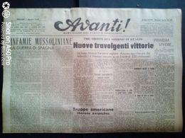 AVANTI (QUOTIDIANO DEL PARTITO SOCIALISTA) LOTTO X 6 DAL 1 Al 6 AGOSTO 1944 - Guerra 1939-45
