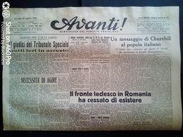 AVANTI (QUOTIDIANO DEL PARTITO SOCIALISTA) LOTTO X 3 DAL 29 AL 31 AGOSTO 1944 - Guerra 1939-45