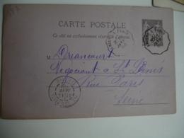 1888 Amiens A Paris  Cachet Ambulant Convoyeur Poste Ferroviaire Sur Lettre - Marcophilie (Lettres)