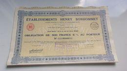 HENRY BONHOMMET (reims MARNE) 1931 - Shareholdings