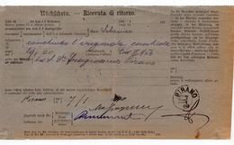 1900.  ITALY,PIRANO,SIBENIK TO PIRAN,SLOVENIA,PROOF OF DELIVERY,RETURN RECEIPT - 1900-44 Victor Emmanuel III