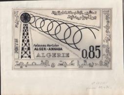 ALGERIA (1964) Communications Tower. Preliminary Artwork, Pencil On Tracing Paper Signed BEQUET. Scott No 331. - Algérie (1962-...)