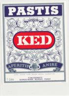 AN 1017 / ETIQUETTE - PASTIS  K E D  APERITIF ANISE  GEORGES MONIN  BOURGES - Labels