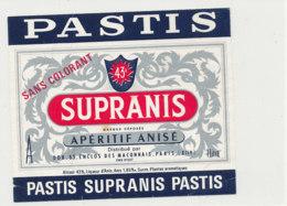 AN 1019 / ETIQUETTE  PASTIS  SUPRANIS  APERITIF ANISE - Labels