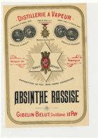 AN 1048 / ETIQUETTE  -  DISTILLERIE A VAPEUR   ABSINTHE RASSISE  GIBELIN  -BELUT  DISTILLATEUR LE PUY - Altri
