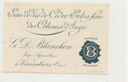 ET 847 / ETIQUETTE  -  EAU DE VIE DE CIDRE   D BLANCHON  AGRICULTEUR A VIMOUTIERS   (ORNE  ) - Labels