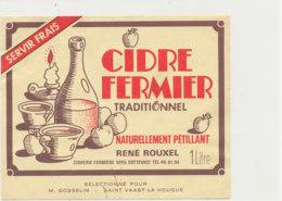 ET 850 / ETIQUETTE  -   CIDRE FERMIER   RENE ROUXEL    SOTTEVAST  MANCHE - Labels