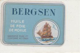 ET 853 / ETIQUETTE  -   HUILE DE FOIE  DE MORUE  BERGSEN - Labels
