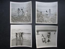 LOT 4 PHOTOS BELGIQUE (M2003) Enfants Sur La Plage (5 Vues) - Lugares
