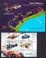 2016 Azerbaijan Formula One Automobile Racing Complete Block Of 4 + Souvenir Sheet  MNH - Azerbaïjan
