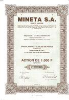 Titre Ancien - MINETA S.A. - Société Anonyme - Luxembourg - Titre De 1983 - Banque & Assurance