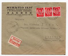 1936 KINGDOM OF YUGOSLAVIA,CROATIA,ZAGREB TO BELGRADE,REAL ESTATE LAWYER M. ILIC,LETTER INSIDE,EXPRESS COVER - 1931-1941 Royaume De Yougoslavie