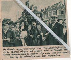 "MARCEL OLAYES UIT HURSEL  WON DE KOERS ""DE GROTE NIJVERHEIDSPRIJS "" IN SELZATE..1935.. - Vecchi Documenti"