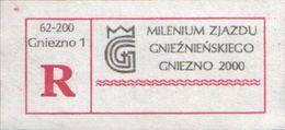 POLAND Gniezno 2000 Rare Specimen Special Registered Label: Millennium Congress Of Gniezno, Akt Von Gnesen, Kaiser Otto - Europese Gedachte