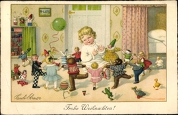 Artiste Cp Ebner, Pauli, Glückwunsch Weihnachten, Kleinkind, Tanzende Puppen, Teddy - Unclassified