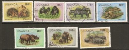 Uganda  1983  SG  433-9  Animals Re-valued Currency   Fine Used - Uganda (1962-...)