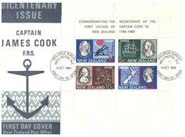 (C 34) New Zealand FDC Cover - Captain Cook (mini-sheet) 1969 - Erforscher