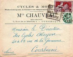 V7SD Enveloppe Timbrée Timbre Exposition Paris 1925 Entête Dunkerque Rue De La Marine Cycles Et Motos Chauveau - 1921-1960: Modern Period