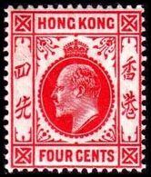 1907-1911. HONG KONG. Edward VII FOUR CENTS. Hinged. (Michel 92) - JF364495 - Hong Kong (...-1997)