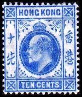 1907-1911. HONG KONG. Edward VII TEN CENTS. Hinged. (Michel 93) - JF364497 - Hong Kong (...-1997)