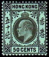 1907-1911. HONG KONG. Edward VII 50 CENTS. Hinged. (Michel 96) - JF364498 - Hong Kong (...-1997)
