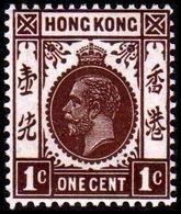 1912. HONG KONG. Georg V ONE CENT. Hinged. (Michel 98) - JF364499 - Hong Kong (...-1997)