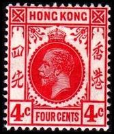 1912. HONG KONG. Georg V FOUR CENTS. Hinged. (Michel 100) - JF364501 - Hong Kong (...-1997)
