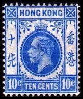 1912. HONG KONG. Georg V TEN CENTS. Hinged. (Michel 103) - JF364504 - Hong Kong (...-1997)