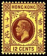1912. HONG KONG. Georg V 12 CENTS. Reverse Yellow. Hinged. (Michel 104x) - JF364505 - Hong Kong (...-1997)