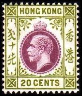 1912. HONG KONG. Georg V 20 CENTS. Hinged. (Michel 105) - JF364506 - Hong Kong (...-1997)