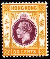 1912. HONG KONG. Georg V 30 CENTS. Hinged. (Michel 107) - JF364508 - Hong Kong (...-1997)
