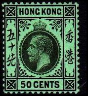 1912. HONG KONG. Georg V 50 CENTS. Reverse Green. Hinged. (Michel 108x) - JF364509 - Hong Kong (...-1997)