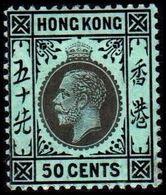 1912. HONG KONG. Georg V 50 CENTS. Reverse White. Hinged. (Michel 108y) - JF364510 - Hong Kong (...-1997)
