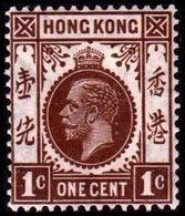 1921-1926. HONG KONG. Georg V ONE CENT. Hinged. (Michel 114) - JF364512 - Hong Kong (...-1997)