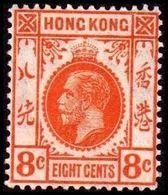 1931-1937. HONG KONG. Georg V EIGHT CENTS. Hinged. (Michel 130) - JF364524 - Hong Kong (...-1997)