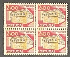 POR#3458-75F-Block Of 4 MNH W/ Phosphorescent Stripe Stamps Of 2$00 - Paísagens E Monumentos - 4th Series-Portugal-1975 - Blocs-feuillets
