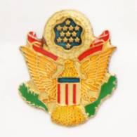 Pin's  Insigne De Casquette US ARMY - Version Colorisé - Aigle Doré - Etoiles - J459 - Militaria