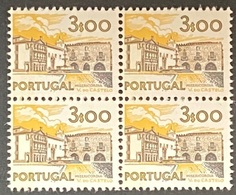 POR#3437-76F-Block Of 4 MNH W/ Phosphorescent Stripe Stamps Of 3$00 - Paísagens E Monumentos - 2nd Series-Portugal-1976 - Blocs-feuillets