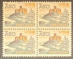 POR#3419-77F-Block Of 4 MNH W/ Phosphorescent Stripe Stamps Of 7$50 - Paísagens E Monumentos - 4th Series-Portugal - Blocs-feuillets