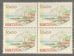 POR#3408-77F-Block Of 4 MNH W/ Phosphorescent Stripe Stamps Of 10$00 - Paísagens E Monumentos - 2nd Series-Portugal-1977 - Blocs-feuillets