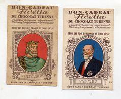 LOT DE 2 CHROMOS -    CHOCOLAT TURENNE  FIDELIA - Chocolate