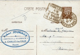 1942- C P E P Pétain 1,20 F  Oblit. DAGUIN  Challes /ses /eaux / Le Salut / De La Voix - Marcophilie (Lettres)