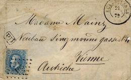 1872- Petite Enveloppe D'ECAUSSINNES Affr. 25 C Oblit. Chiffre 105 - 1869-1883 Leopold II