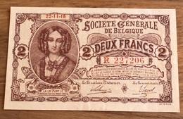 2 Francs Societe Generale Unc!! Uitzonderlijke Kwaliteit! Verzamelstuk!! 7206 - [ 3] Occupazioni Tedesche Del Belgio