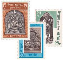 God BHAIRAB Series 3-Stamp Set NEPAL 1971 MINT - Hinduism