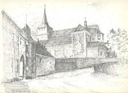CLERMONT Sur BERWINNE -  Eglise Et Château - Lithographie De Laurent BALHAN (Mi11) - Lithographies