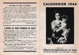 CALENDRIER 1944 OEUVRE DE SECOURS AUX PAROISSES PAUVRES    REF 66827 - Calendriers