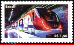 Ref. BR-V2017-06 BRAZIL 2017 RAILWAYS, TRAINS, MERCOSUR ISSUED, PUBLIC, TRANSPORT, SUBWAY, MNH 1V - Trains