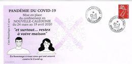 Nouvelle Caledonie Caledonia Enveloppe Commemorative Pandemie Covid 19 Cad Agence Principale 23/3/2020 TB - Nouvelle-Calédonie