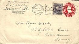 1906- Enveloppe E P 2 Cents + 3 Cents  Oblit. DRAPEAU   Américain  De EAST PITTSBURG - Marcophilie (Lettres)